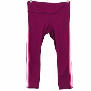 Athleta Contender Side Stripe Capri Leggings Plum Pocket Drawstring 446672 Small